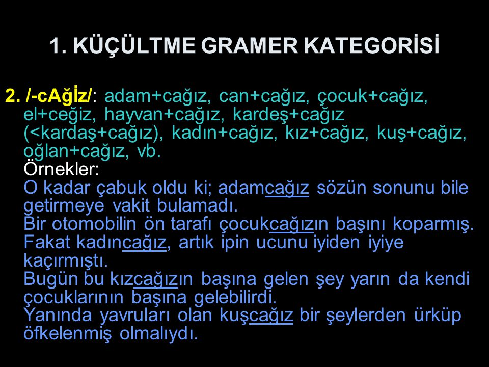 1. KÜÇÜLTME GRAMER KATEGORİSİ