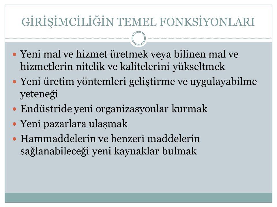 GİRİŞİMCİLİĞİN TEMEL FONKSİYONLARI