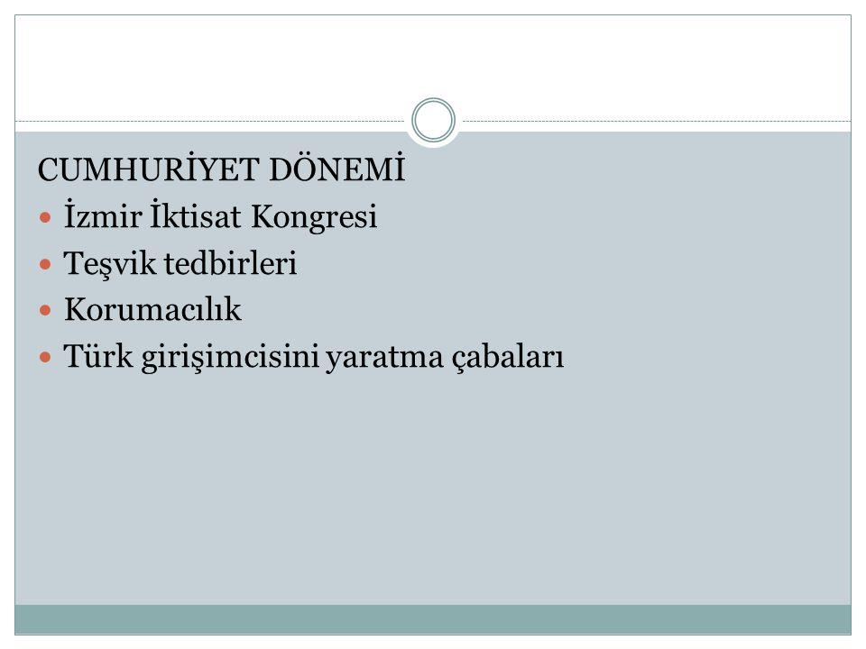 CUMHURİYET DÖNEMİ İzmir İktisat Kongresi. Teşvik tedbirleri.