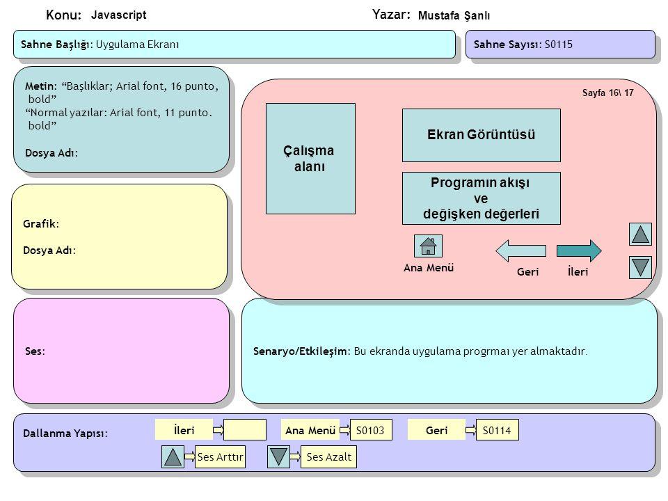 Çalışma alanı Ekran Görüntüsü Programın akışı ve değişken değerleri