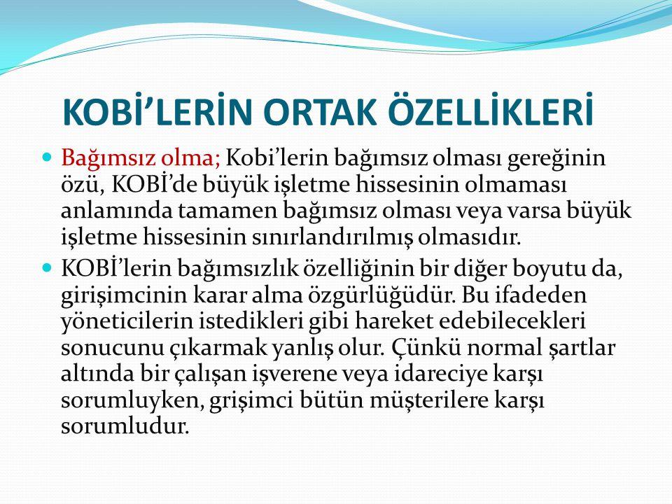 KOBİ'LERİN ORTAK ÖZELLİKLERİ