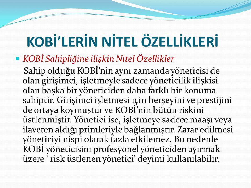 KOBİ'LERİN NİTEL ÖZELLİKLERİ