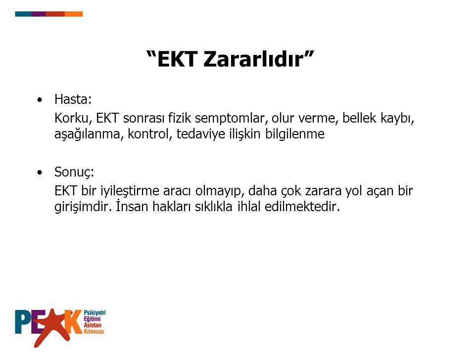 EKT Zararlıdır Hasta: