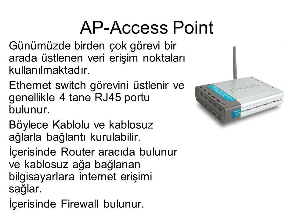 AP-Access Point Günümüzde birden çok görevi bir arada üstlenen veri erişim noktaları kullanılmaktadır.