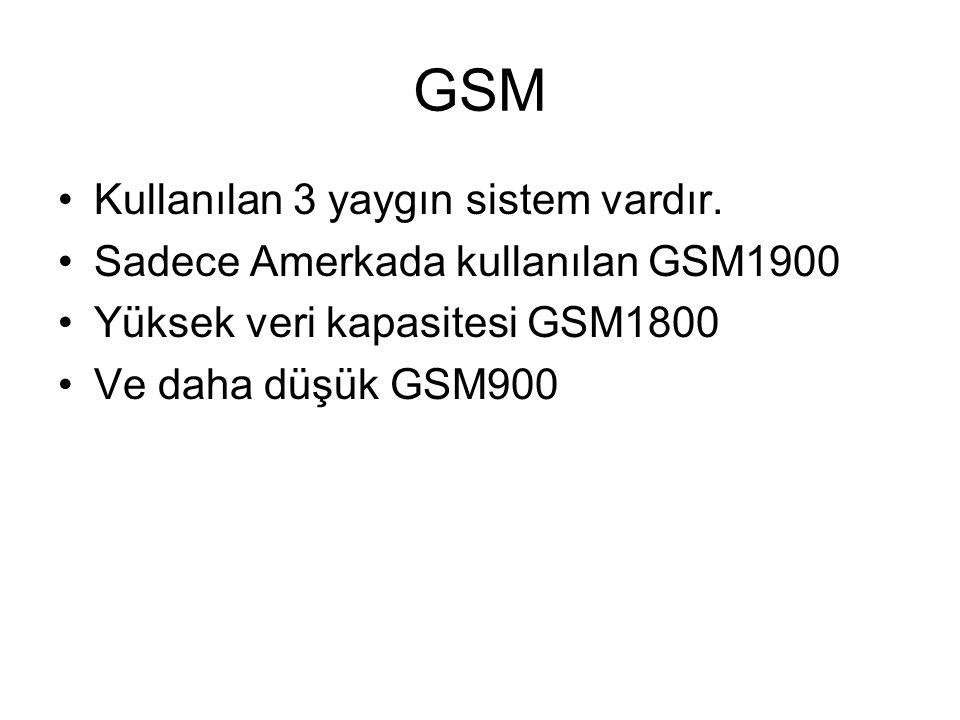 GSM Kullanılan 3 yaygın sistem vardır.