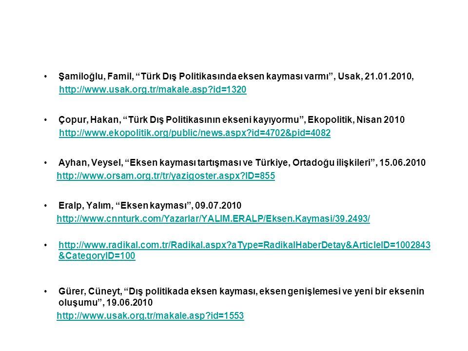 Şamiloğlu, Famil, Türk Dış Politikasında eksen kayması varmı , Usak, 21.01.2010,