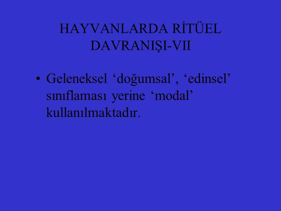 HAYVANLARDA RİTÜEL DAVRANIŞI-VII