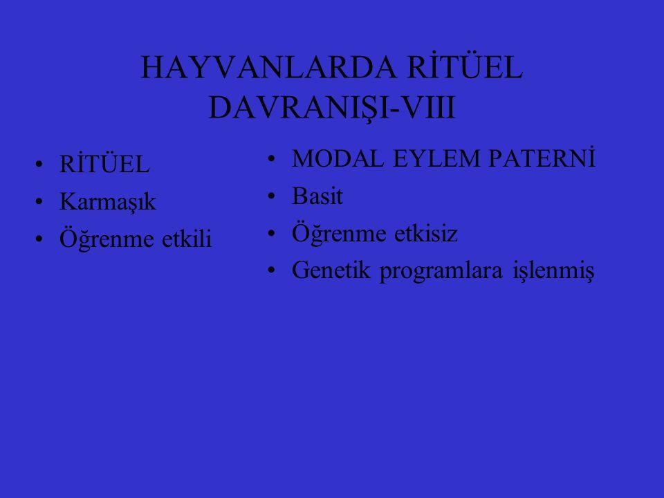HAYVANLARDA RİTÜEL DAVRANIŞI-VIII