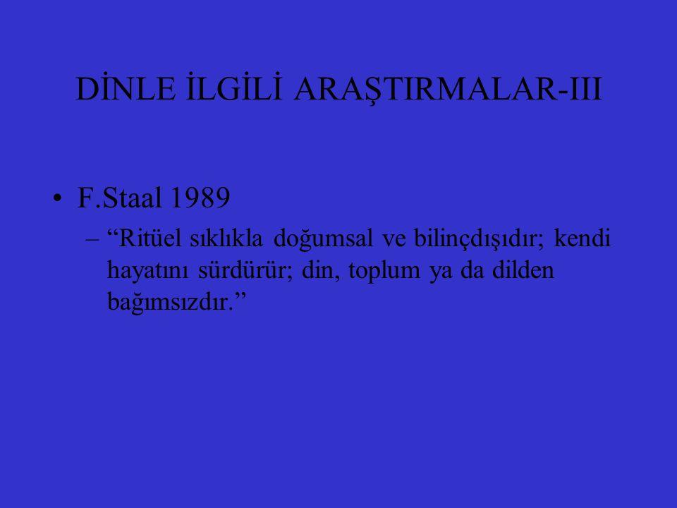 DİNLE İLGİLİ ARAŞTIRMALAR-III