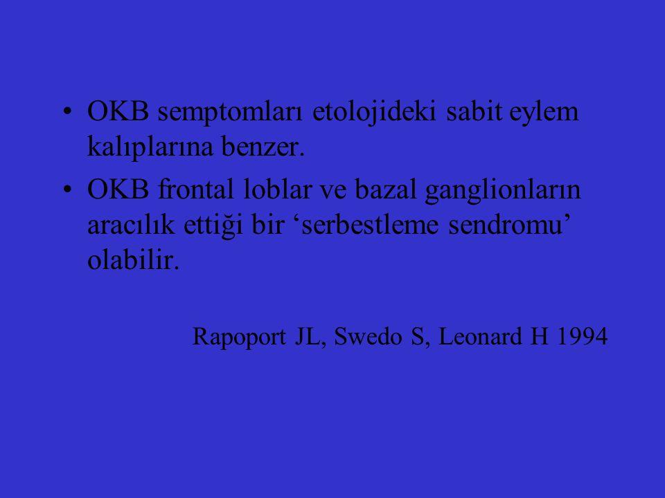 OKB semptomları etolojideki sabit eylem kalıplarına benzer.