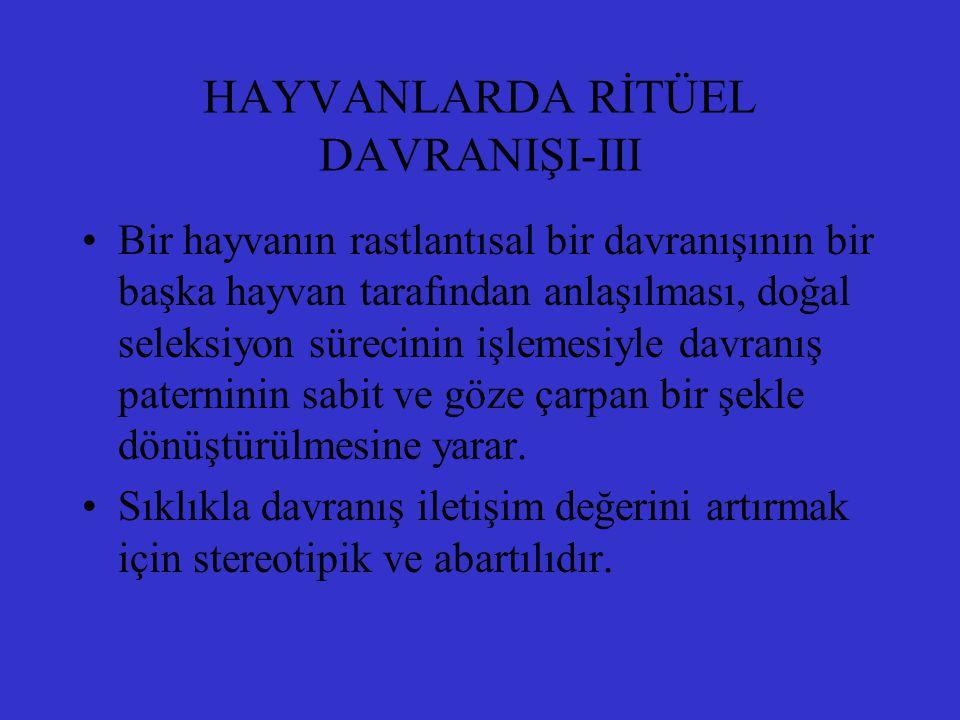 HAYVANLARDA RİTÜEL DAVRANIŞI-III