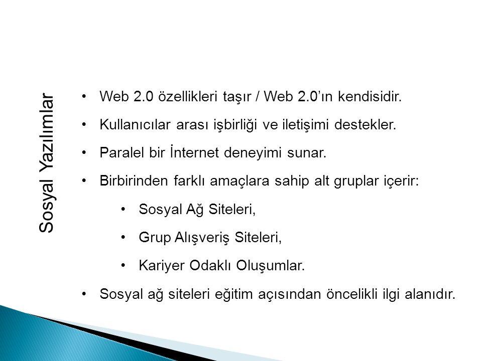 Sosyal Yazılımlar Web 2.0 özellikleri taşır / Web 2.0'ın kendisidir.