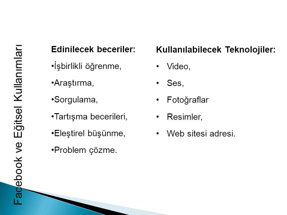 Facebook ve Eğitsel Kullanımları