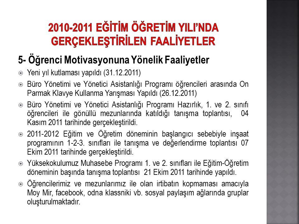 2010-2011 EĞİTİM ÖĞRETİM YILI'NDA GERÇEKLEŞTİRİLEN FAALİYETLER
