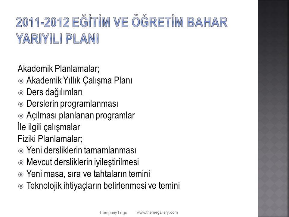 2011-2012 Eğİtİm ve Öğretİm BAHAR YarIyIlI PlanI