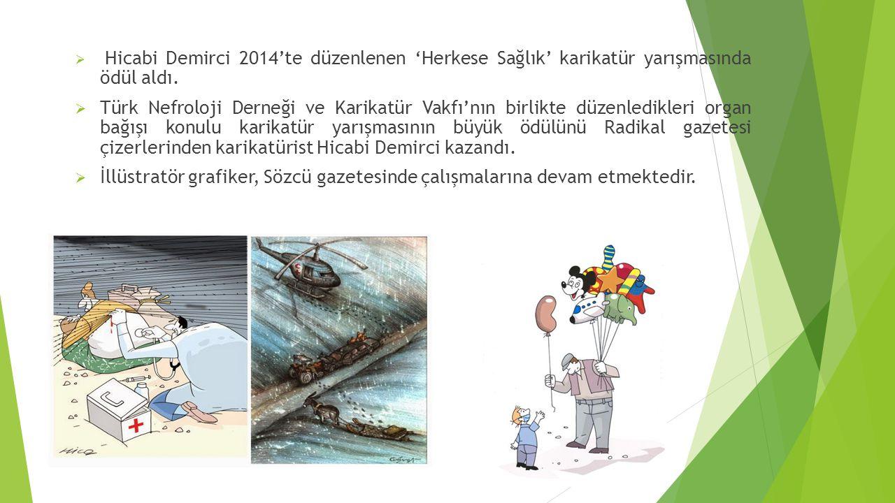 Hicabi Demirci 2014'te düzenlenen 'Herkese Sağlık' karikatür yarışmasında ödül aldı.