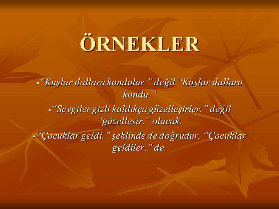ÖRNEKLER Kuşlar dallara kondular. değil Kuşlar dallara kondu.