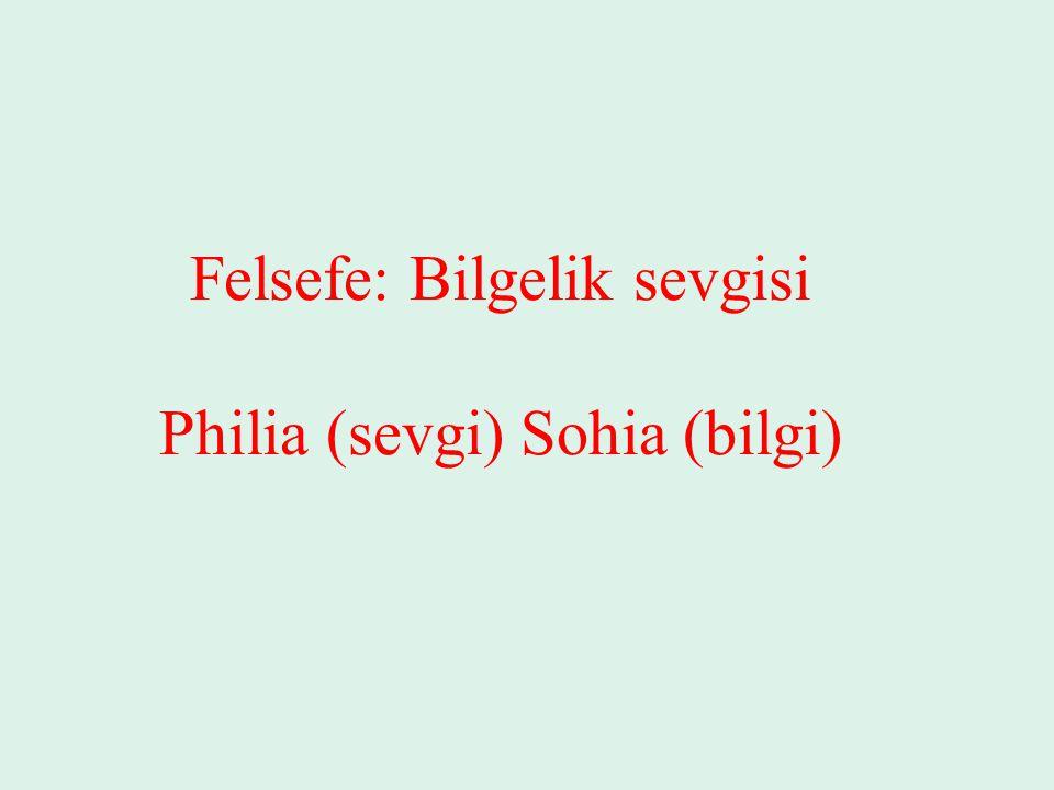 Felsefe: Bilgelik sevgisi Philia (sevgi) Sohia (bilgi)