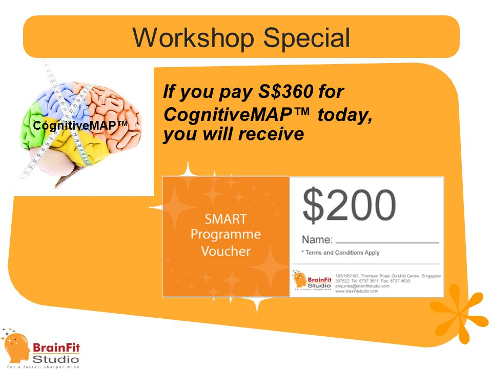 Workshop Special If you pay S$360 for CognitiveMAP™ today,