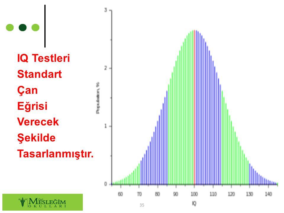 IQ Testleri Standart Çan Eğrisi Verecek Şekilde Tasarlanmıştır.