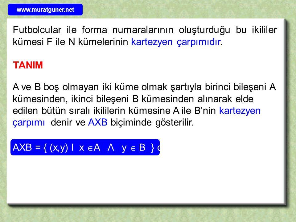 AXB = { (x,y) l x A Λ y  B } dir.
