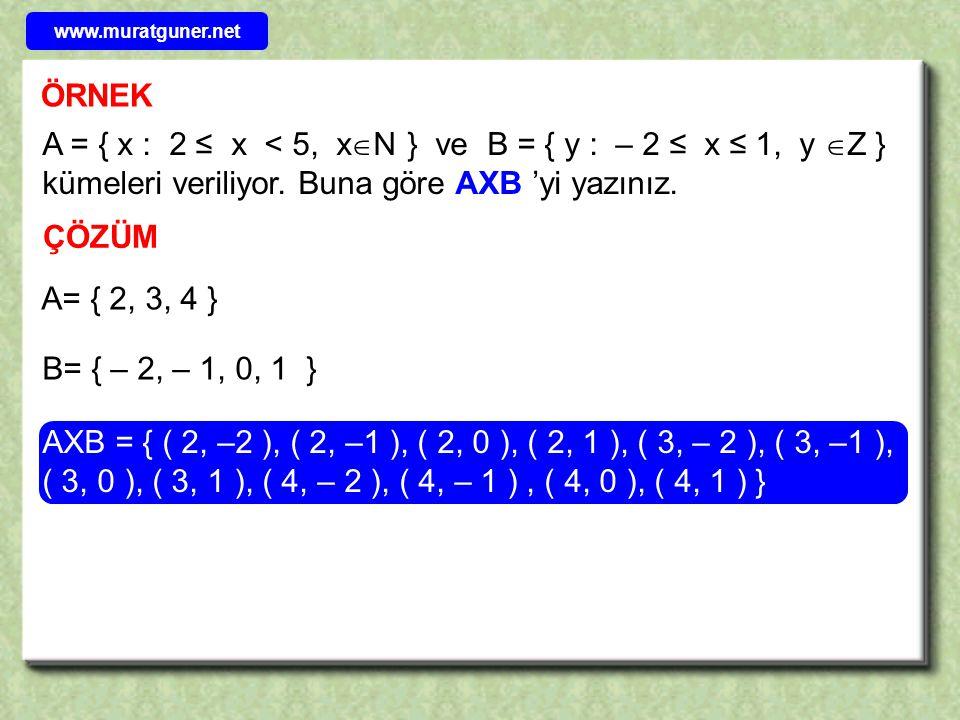 www.muratguner.net ÖRNEK. A = { x : 2 ≤ x < 5, xN } ve B = { y : – 2 ≤ x ≤ 1, y Z } kümeleri veriliyor. Buna göre AXB 'yi yazınız.