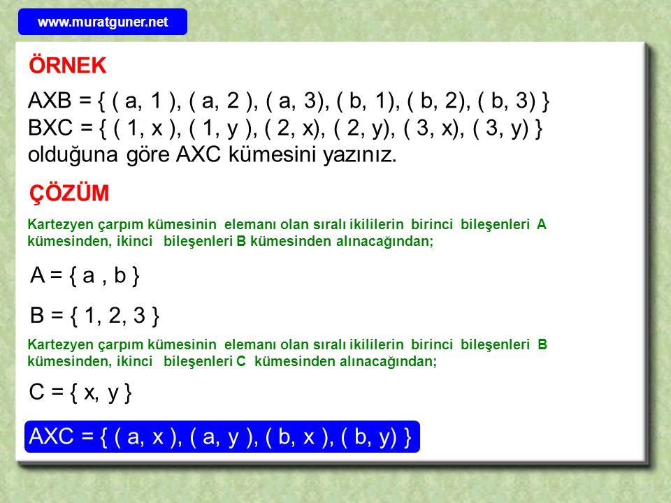 AXC = { ( a, x ), ( a, y ), ( b, x ), ( b, y) }