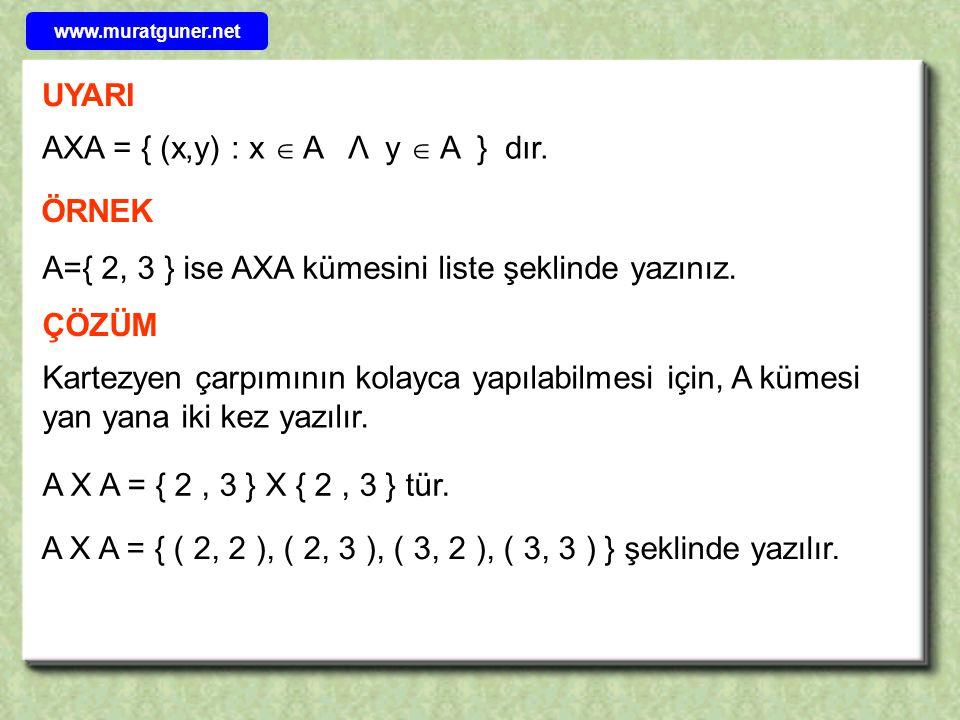 AXA = { (x,y) : x  A Λ y  A } dır.