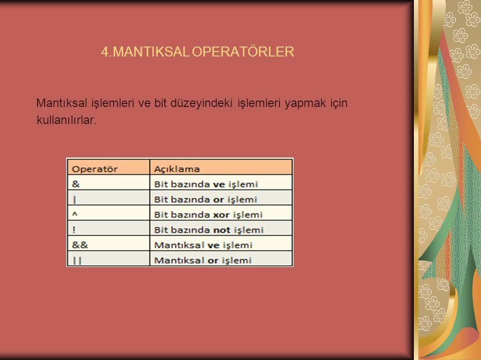 4.MANTIKSAL OPERATÖRLER