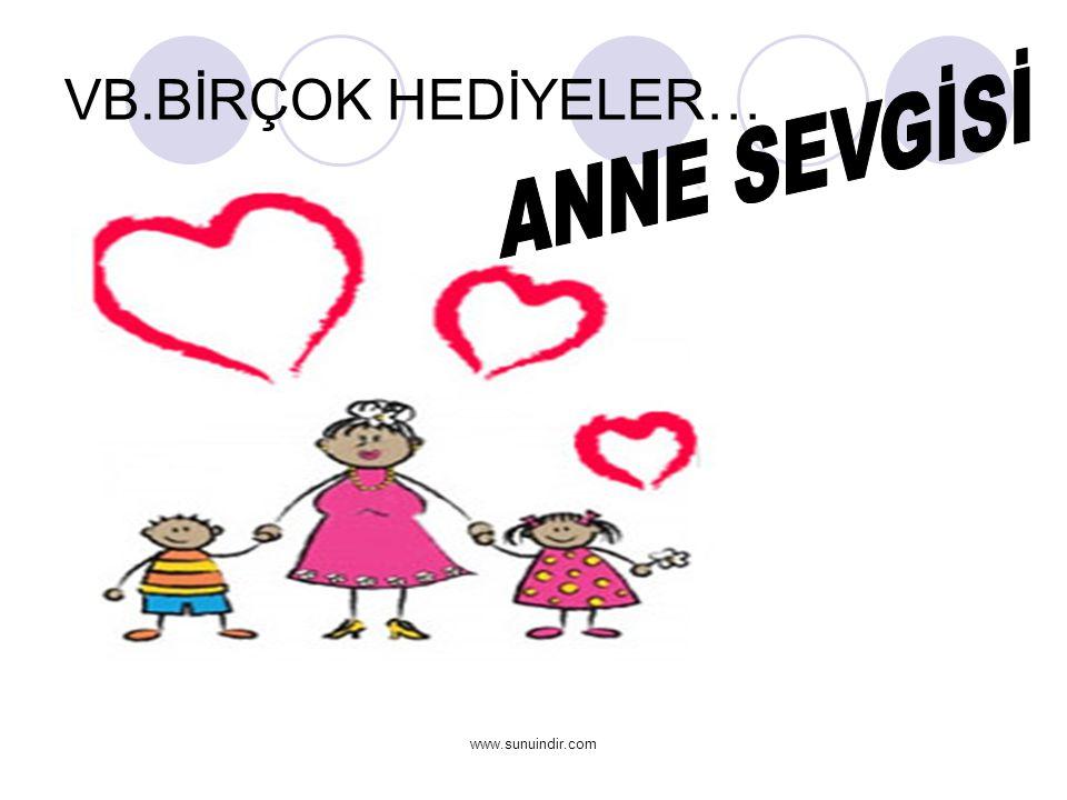 VB.BİRÇOK HEDİYELER… ANNE SEVGİSİ www.sunuindir.com