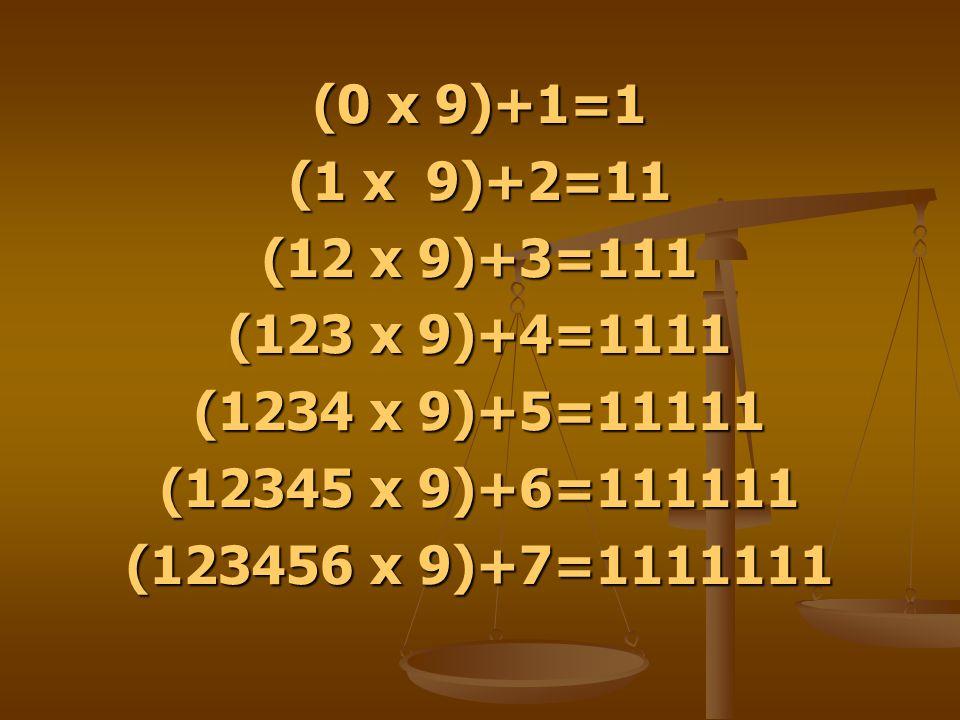 (0 x 9)+1=1 (1 x 9)+2=11. (12 x 9)+3=111. (123 x 9)+4=1111. (1234 x 9)+5=11111. (12345 x 9)+6=111111.