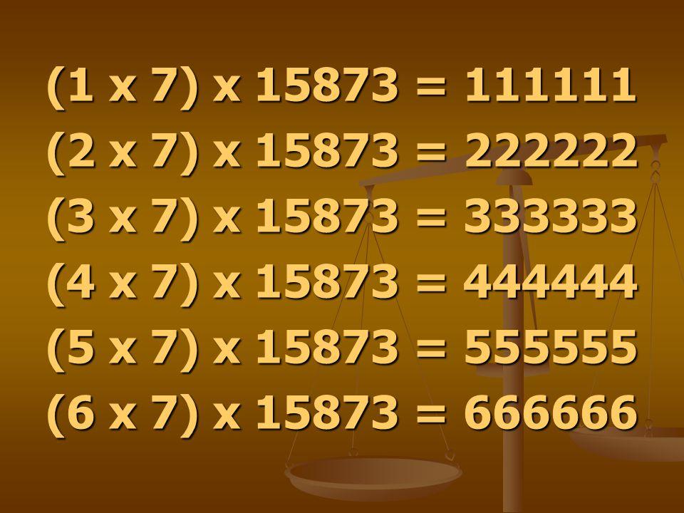 (1 x 7) x 15873 = 111111 (2 x 7) x 15873 = 222222. (3 x 7) x 15873 = 333333. (4 x 7) x 15873 = 444444.