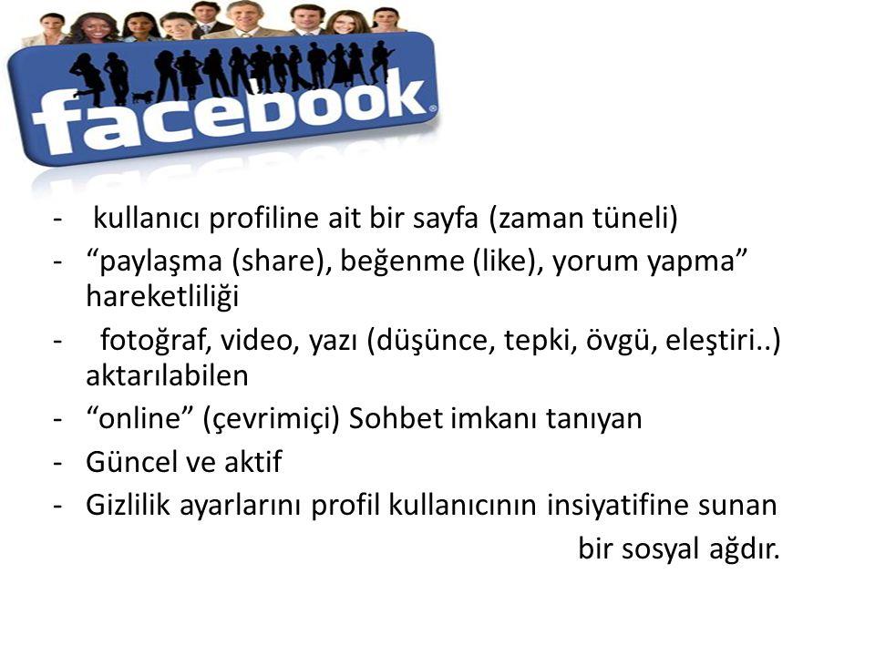 - kullanıcı profiline ait bir sayfa (zaman tüneli)