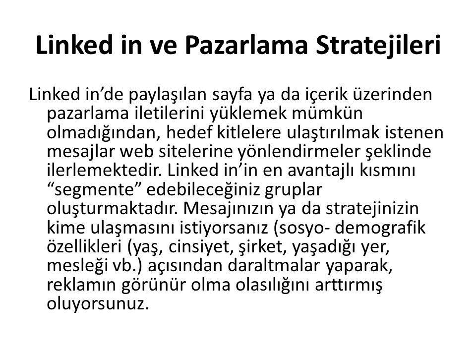 Linked in ve Pazarlama Stratejileri