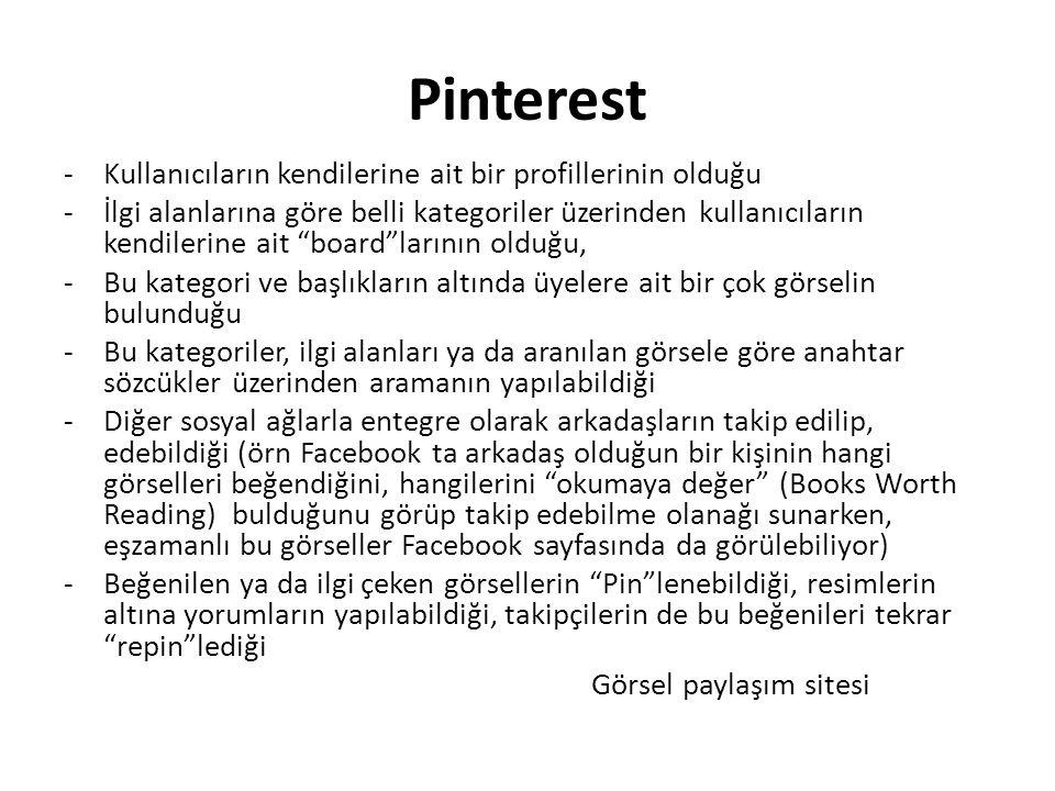 Pinterest Kullanıcıların kendilerine ait bir profillerinin olduğu