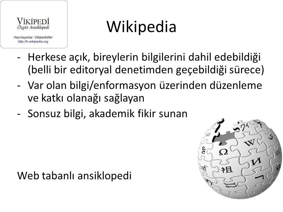 Wikipedia Herkese açık, bireylerin bilgilerini dahil edebildiği (belli bir editoryal denetimden geçebildiği sürece)