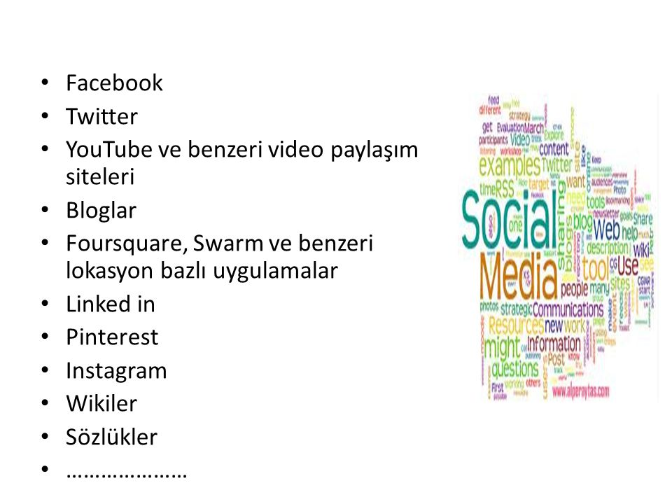 Facebook Twitter. YouTube ve benzeri video paylaşım siteleri. Bloglar. Foursquare, Swarm ve benzeri lokasyon bazlı uygulamalar.