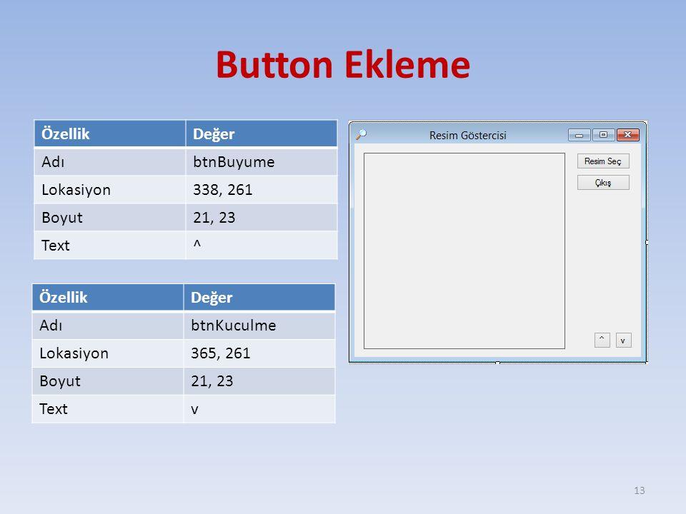 Button Ekleme Özellik Değer Adı btnBuyume Lokasiyon 338, 261 Boyut