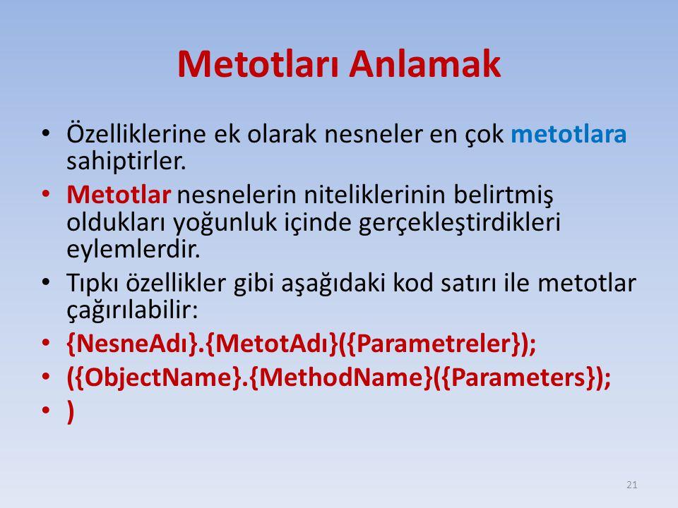 Metotları Anlamak Özelliklerine ek olarak nesneler en çok metotlara sahiptirler.