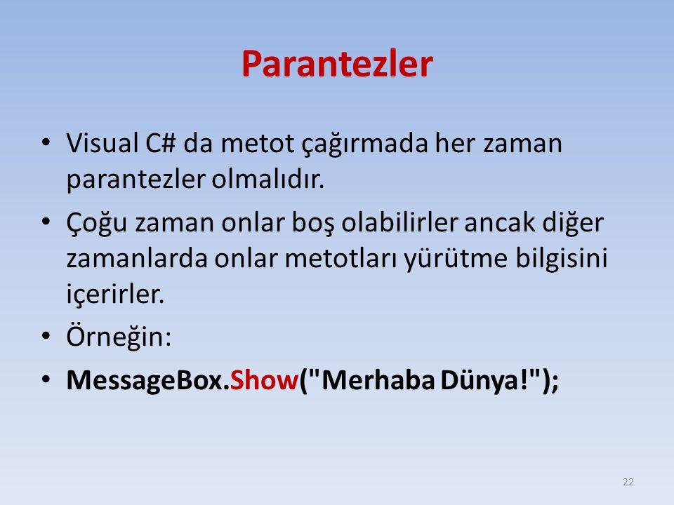 Parantezler Visual C# da metot çağırmada her zaman parantezler olmalıdır.