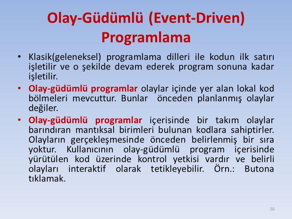 Olay-Güdümlü (Event-Driven) Programlama