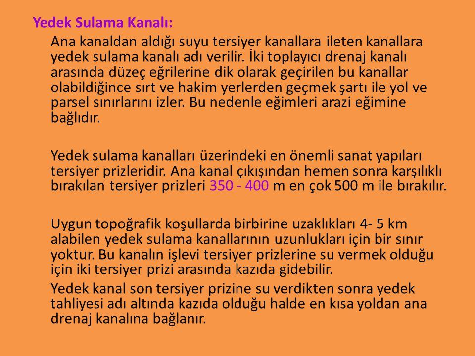 Yedek Sulama Kanalı: