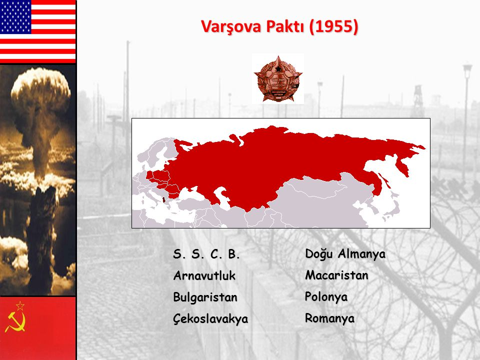 Varşova Paktı (1955) S. S. C. B. Arnavutluk Bulgaristan Çekoslavakya