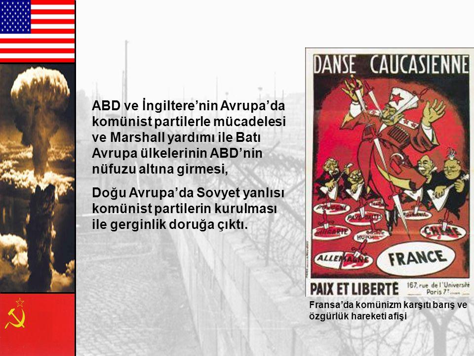 ABD ve İngiltere'nin Avrupa'da komünist partilerle mücadelesi ve Marshall yardımı ile Batı Avrupa ülkelerinin ABD'nin nüfuzu altına girmesi,
