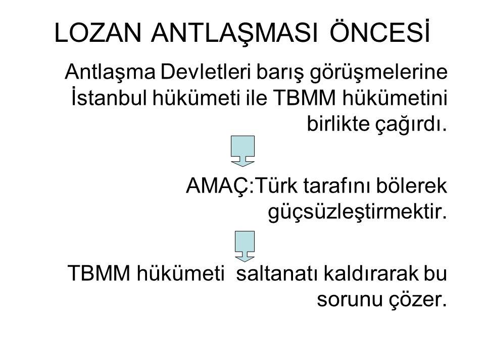 LOZAN ANTLAŞMASI ÖNCESİ