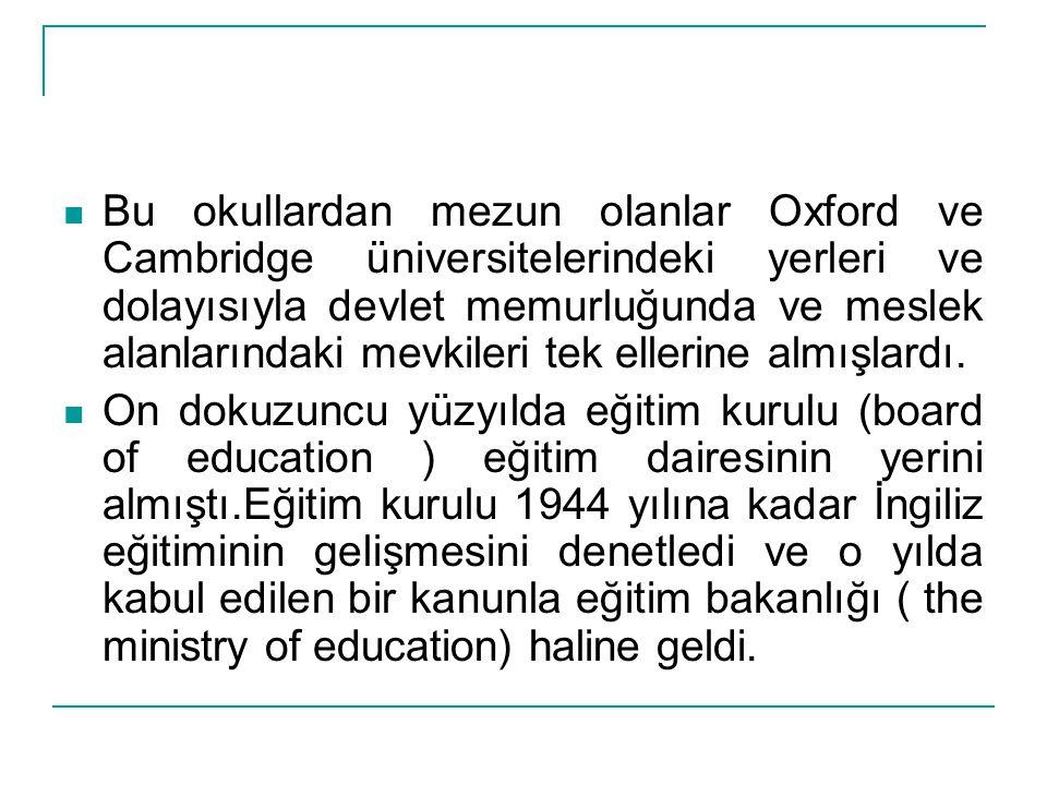 Bu okullardan mezun olanlar Oxford ve Cambridge üniversitelerindeki yerleri ve dolayısıyla devlet memurluğunda ve meslek alanlarındaki mevkileri tek ellerine almışlardı.