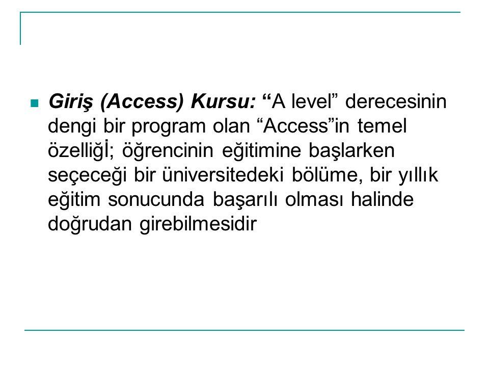 Giriş (Access) Kursu: A level derecesinin dengi bir program olan Access in temel özelliğİ; öğrencinin eğitimine başlarken seçeceği bir üniversitedeki bölüme, bir yıllık eğitim sonucunda başarılı olması halinde doğrudan girebilmesidir