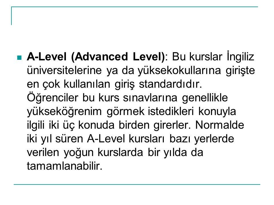 A-Level (Advanced Level): Bu kurslar İngiliz üniversitelerine ya da yüksekokullarına girişte en çok kullanılan giriş standardıdır.