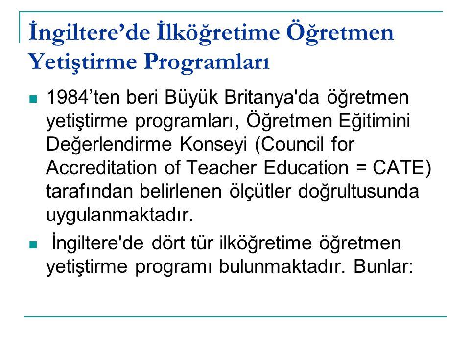 İngiltere'de İlköğretime Öğretmen Yetiştirme Programları