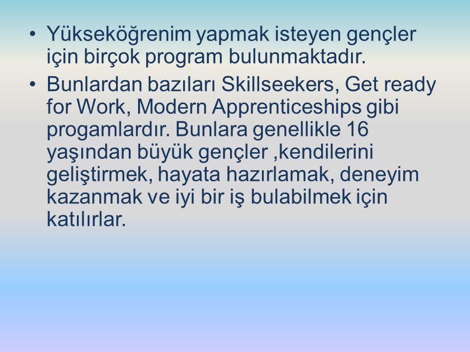 Yükseköğrenim yapmak isteyen gençler için birçok program bulunmaktadır.